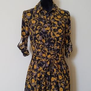 Nanette Lepore Collard 3/4 Sleeve Button Dress